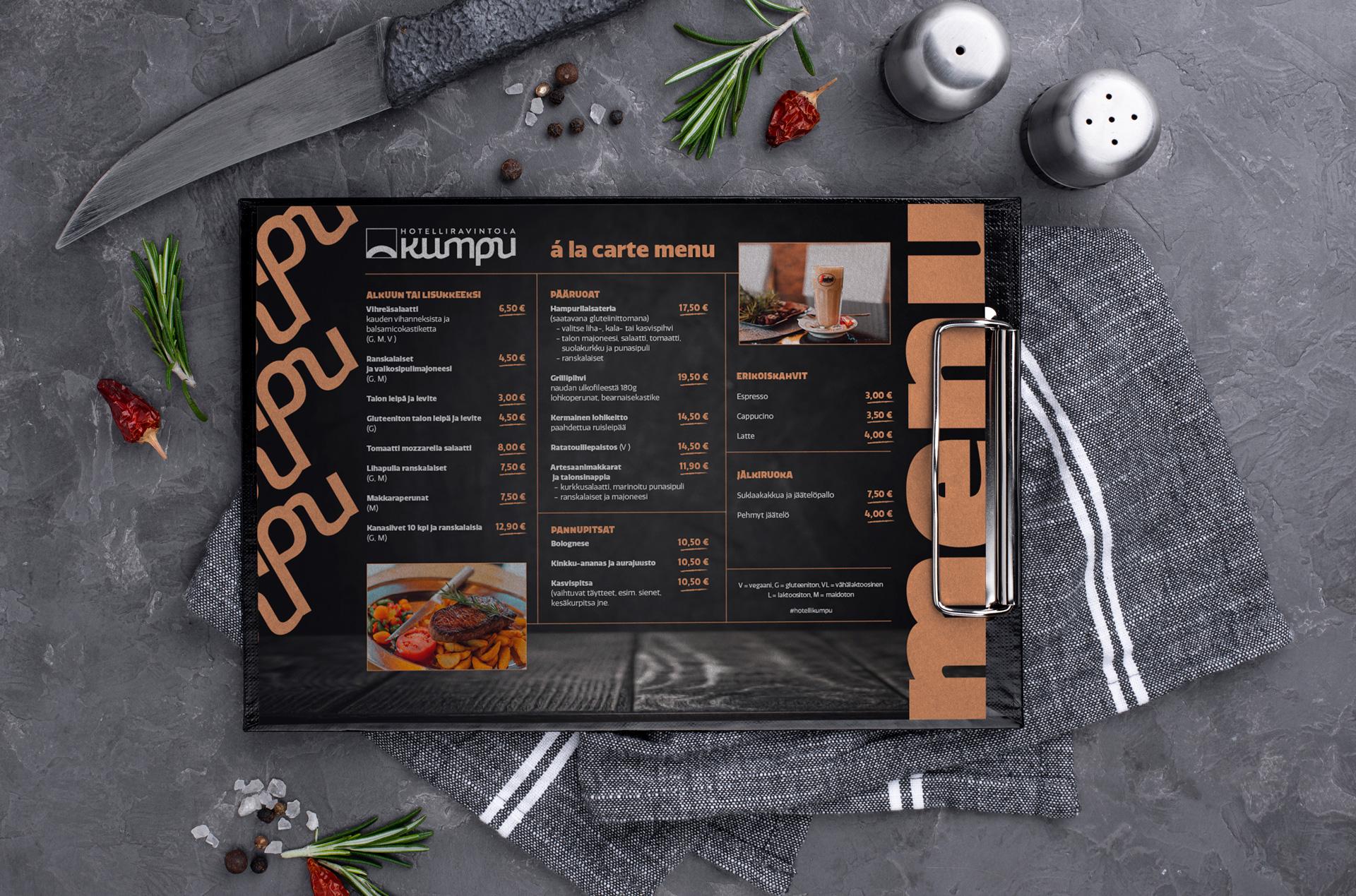 Hotelliravintola kumpu á la carte menu